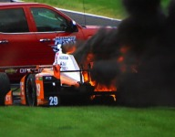 Indy 500: De Silvestro unharmed after fuel fire