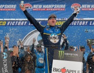 Harvick bumps his way past Kyle Busch for New Hampshire win