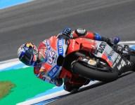 Dovizioso leads, Lorenzo escapes heavy crash in Thailand practice