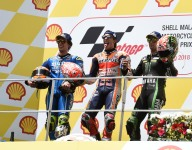 Marquez wins in Malaysia as Rossi crashes out of the lead