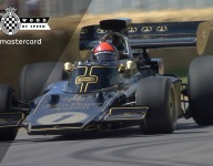 Emerson Fittipaldi reunites with Lotus 72 up Goodwood hill