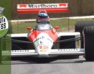 Takuma Sato takes Ayrton Senna's McLaren MP4/4 up Goodwood hill
