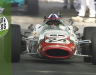 Dario Franchitti in Jackie Stewart's Indy 500 Lola at FOS