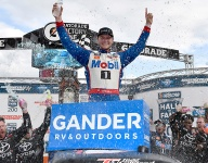 Dramatic pass in wild race gives Todd Gilliland first Truck Series win