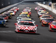 Ferrari Challenge drivers enjoy ceremonial laps of the IMS oval