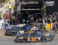 Playoff challenger Almirola collected in early wreck at Talladega